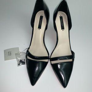 Zara Shoes - Zara Authentic Black Leather Heel Shoes Size 9